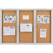 "Global Industrial™ Enclosed Bulletin Board - Cork - Aluminum Frame - 72"" x 48"" - 3 Door"