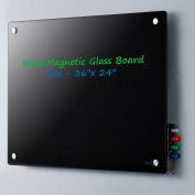 "Global Industrial™ Magnetic Glass Dry Erase Board - 36 x 24"" - Black"