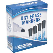Global Industrial™ Dry Erase Markers, Bullet Tip - Black - Pack of 12