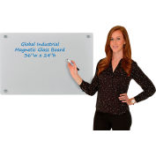 Global Industrial™ Magnetic Glass Dry Erase Board - 36 x 24 - Gray
