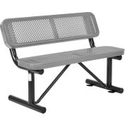 Global Industrial™ 4 ft. Outdoor Steel Bench with Backrest - Perforated Metal - Gray