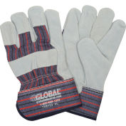 """Global Industrial™ Leather Palm Safety Gloves with 2-1/2"""" Safety Cuff, X-Large, 1 Pair - Pkg Qty 12"""