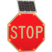 "Global Industrial™ 30"" Solar Powered Flashing LED Stop Sign, Octagon"