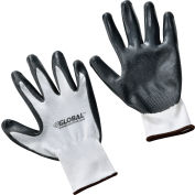 Global Industrial™ Flat Nitrile Coated Gloves, White/Gray, Large, 1-Pair - Pkg Qty 12