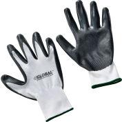 Global Industrial™ Flat Nitrile Coated Gloves, White/Gray, Medium, 1-Pair - Pkg Qty 12