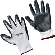Global Industrial™ Flat Nitrile Coated Gloves, White/Gray, Small, 1-Pair - Pkg Qty 12
