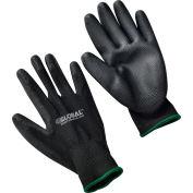 Global Industrial™ Flat Polyurethane Coated Gloves, Black/Black, Medium, 1-Pair - Pkg Qty 12