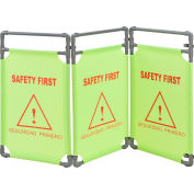 """Global Industrial™ """"Safety First"""" Folding Fabric Barrier, Lime Green,  English/Spanish"""