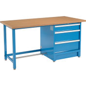 """Global Industrial™ 72""""W x 30""""D Modular Workbench with 3 Drawers - Shop Top Square Edge - Blue"""