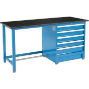 "Global Industrial™ 72""Wx30""D Modular Workbench with 5 Drawers, Phenolic Resin Safety Edge, Blue"