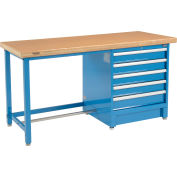 """Global Industrial™ 72""""W x 30""""D Modular Workbench with 5 Drawers - Shop Top Safety Edge - Blue"""