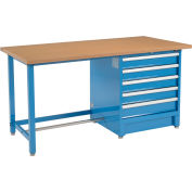 """Global Industrial™ 72""""W x 30""""D Modular Workbench with 5 Drawers - Shop Top Square Edge - Blue"""