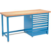 Global Industrial™ 72Wx30D Modular Workbench, 7 Drawers, Maple Butcher Block Square Edge, Blue