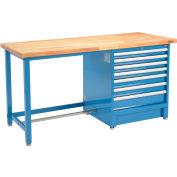 Global Industrial™ 72Wx30D Modular Workbench, 7 Drawers, Birch Butcher Block Square Edge, Blue