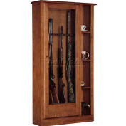 American Furniture Classics 725 Wood Curio Gun Combination Storage Cabinet, 10 Long Guns