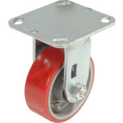 "Global Industrial™ Heavy Duty Rigid Plate Caster 4"" Polyurethane Wheel 600 Lb. Capacity"