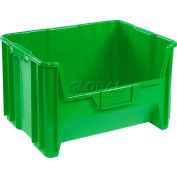 "Global Industrial™ Plastic Hopper Bin 19-7/8""W x 15-1/4""D x 12-7/16""H Green - Pkg Qty 3"
