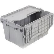 "Akro-Mils Attached Lid Container 39120GREY - 21-1/2""L x 15""W x 12-1/2""H - Pkg Qty 6"