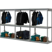 "Global Industrial™ Boltless Luggage Garment Triple Rack - 144""W x 24""D x 84""H"