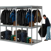 """Global Industrial™ Boltless Luggage Garment Double Rack - 96""""W x 48""""D x 84""""H"""