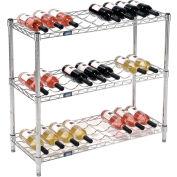 """Nexel® Wine Bottle Rack - 27 Bottle 36""""W x 14""""D x 34""""H, Chrome"""