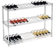 """Nexel® Wine Bottle Rack - 39 Bottle 48""""W x 14""""D x 34""""H, Chrome"""