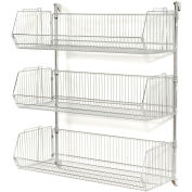 "Wall Mount Basket Kit 48""W x 20""D x 12""H (3 Basket) Chrome"