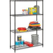 """Nexel® Best Value Wire Shelving Unit 48""""W x 18""""D x 74""""H (600 lb shelf cap) Black Epoxy"""