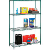 "Nexel® Best Value Wire Shelving Unit, 48""W x 24""D x 74""H, Green Epoxy"