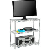 "Nexel® 60""W x 14""D x 34""H (3) Shelf Media Stand - Chrome"