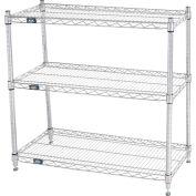 "Nexel® 36""W x 14""D x 34""H (3) Shelf Media Stand - Chrome"