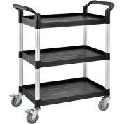 "Global Industrial™ High Capacity Service Cart, Aluminum Posts, 3 Shelf, 26""Lx17""W, Black"