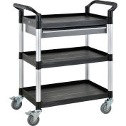 "Global Industrial™ Storage Utility Cart W/Aluminum Posts, 3 Shelves/1 Drawer, 26""Lx17""W"