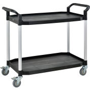"Global Industrial™ High Capacity Service Cart, Aluminum Posts, 2 Shelf, 36""Lx20""W, Black"