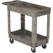 "Global Industrial™ 2 Flat Shelf Plastic Service Utility Cart, Extra Strength, 38"" x 17-1/2"""