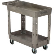 "Global Industrial™ Tray Top Plastic Utility Cart, 2 Shelf, 38""Lx17-1/2""W, 5"" Casters, Gray"