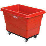 Global Industrial™ Plastic Bulk Box Truck, 6 Bushel, Steel Chassis Base, Red