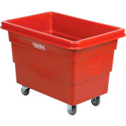 Global Industrial™ Plastic Bulk Box Truck, 6 Bushel, direct mount base Red