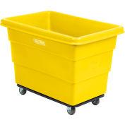 Global Industrial™ Plastic Bulk Box Truck, 8 Bushel, Steel Chassis Base Yellow