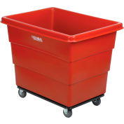 Global Industrial™ Plastic Bulk Box Truck, 12 Bushel, Steel Chassis Base Red