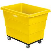 Global Industrial™ Plastic Bulk Box Truck, 12 Bushel, Steel Chassis Base Yellow