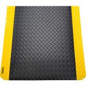 "Global Industrial™ Diamond Plate Ergonomic Mat 15/16"" Thick 3' x 5' Black/Yellow Border"