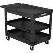 "Global Industrial™ Tray Top Plastic Utility Cart, 3 Shelf, 44""Lx25-1/2""W, 5"" Casters, Black"