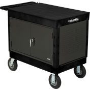 """Global Industrial™ Extra Strength Mobile Work Center w/ Flat Top & 8"""" Casters, Black"""