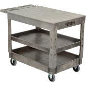 "Global Industrial™ Extra Strength Plastic 3 Flat Shelf Service Cart 44x25-1/2 5"" Casters"