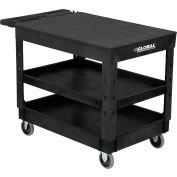 "Global Industrial™ Plastic Black 3 Flat Shelf Service Utility Cart 44x25-1/2 5"" Rubber Casters"