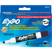 Expo® Low Odor Dry Erase Marker, Chisel Tip, Black/Blue/Green/Red Ink, 4/Pack - Pkg Qty 12