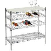 """Nexel® Chrome Wine Display Unit - Cutting Board Top - 36""""W x 14""""D x 34""""H - 4 Tier"""