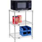 "Nexel® Poly-Z-Brite® Single Station Microwave Shelving - 3 Tier - 24""W x 18""D x 34""H"