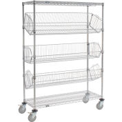 "Adjustable Mobile Wire Bin Rack - 48""W x 18""D x 69""H"